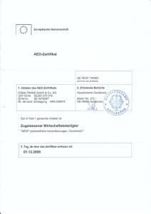 Osnatrans - AEO-Zertifikat