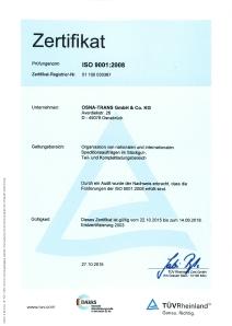 Osnatrans - Zertifiziert nach DIN EN ISO 9001